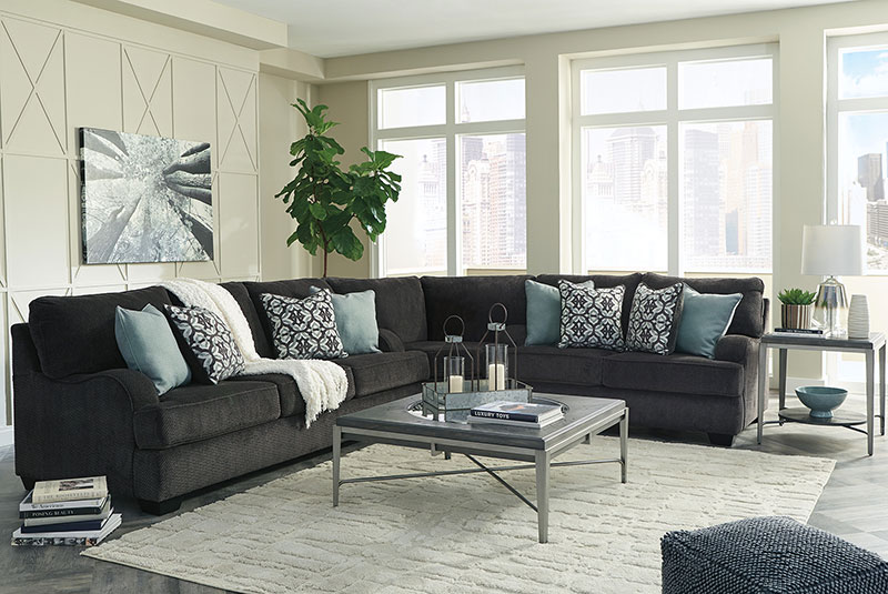 Details about Modern Dark Gray Fabric Large Sectional Living Family Room  Sofa Couch Set IG1Q