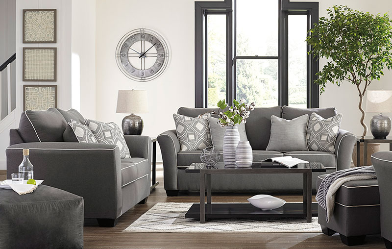 Details about Modern Style Living Room Furniture - Gray Fabric Sofa Couch &  Loveseat Set IG23