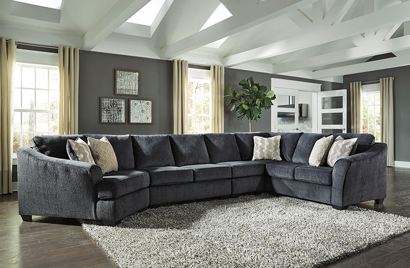 Details about FINN Modern Sectional Living Room Furniture - 4p Dark Gray  Fabric Sofa Couch Set