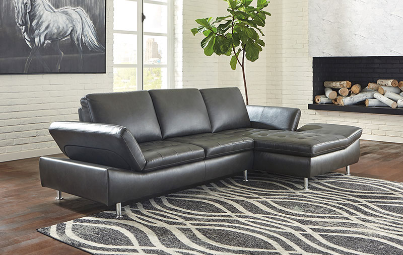 Details about Modern Sectional Dark Gray Faux Leather Living Room Sofa  Couch Chaise Set IG39