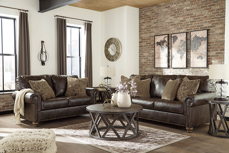 Details about Traditional Brown Faux Leather Living Room 2 piece Sofa Couch  Loveseat Set IG3K