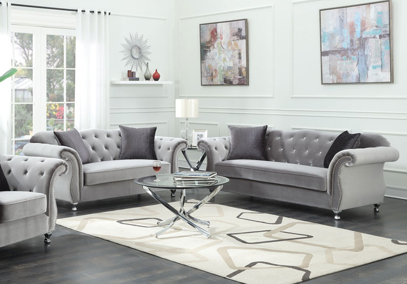 Details about NEW Traditional Living Room Couch Set - Tufted Gray  Microfiber Sofa Loveseat R74