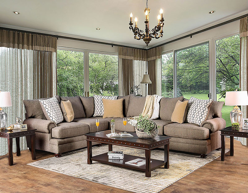 Details About New Large Living Family Room Sectional Furniture Brown Fabric Sofa Couch Set Cae