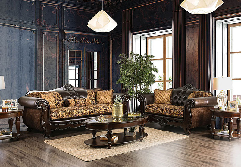 Details about NEW Traditional Living Room Wood Trim Brown Leatherette &  Fabric Sofa Set IGD5