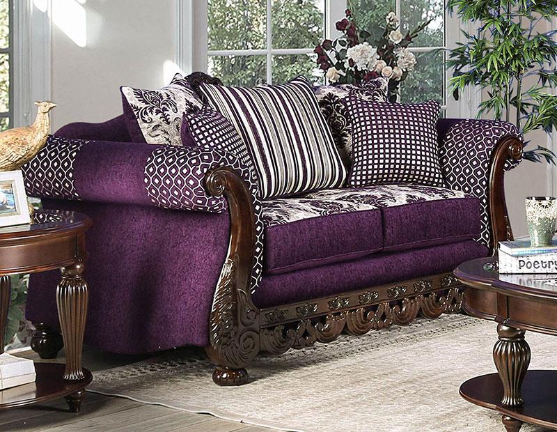 NEW Traditional Living Room 2 piece Wood Trim Purple ...