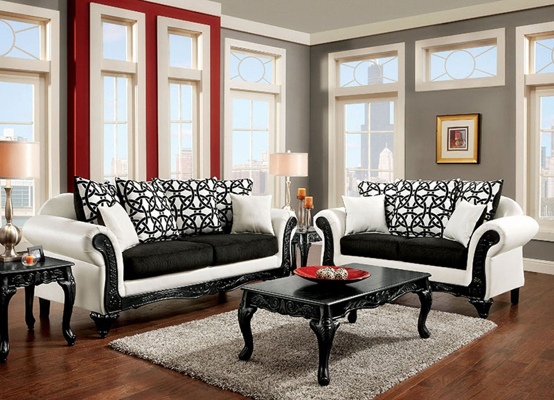 Details about Traditional Living Room Wood Trim Black & White Fabric  Leatherette Sofa Set IGDE