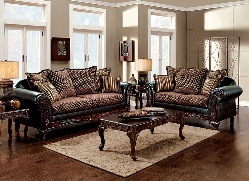 old world style living room furniture wood trim brown