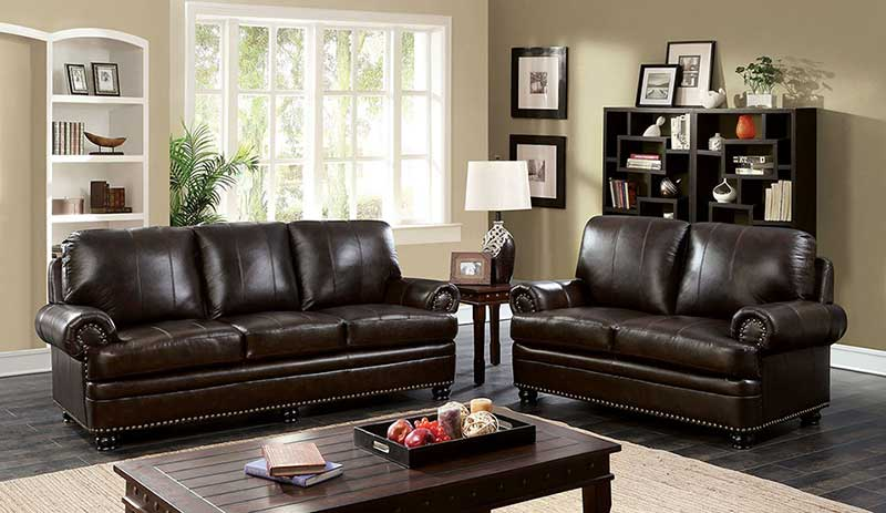 Details about Traditional Design Dark Brown Leather Living Room Sofa Couch  & Loveseat Set IGDK