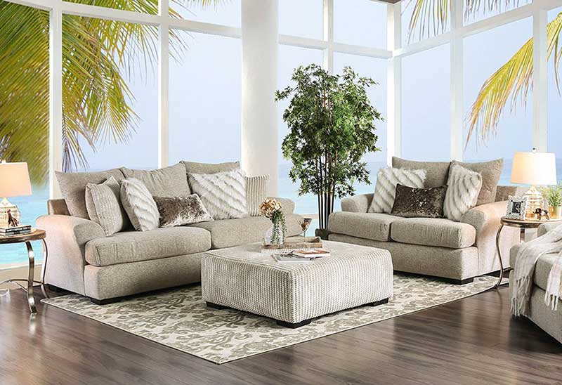 Details about NEW Beige Chenille Fabric Living Room Furniture - 2 piece  Sofa Loveseat Set IGE6