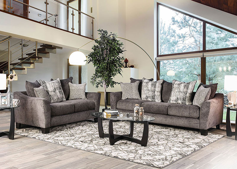 Details about Modern Brown Chenille Fabric Living Room Furniture 2 piece  Sofa Couch Set IGE7