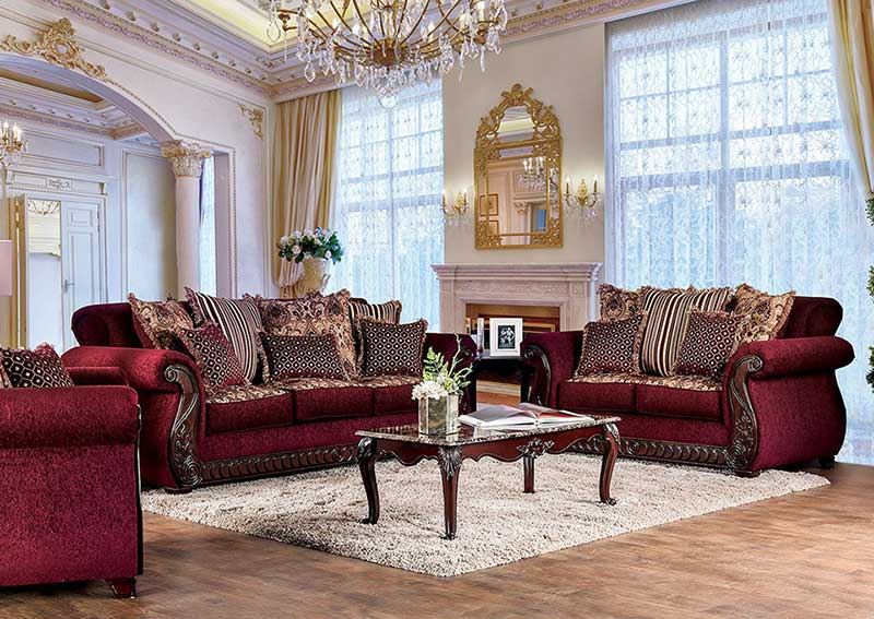 Superb Details About Traditional Living Room Wood Trim Burgundy Fabric Sofa Couch Loveseat Set Ircu Spiritservingveterans Wood Chair Design Ideas Spiritservingveteransorg