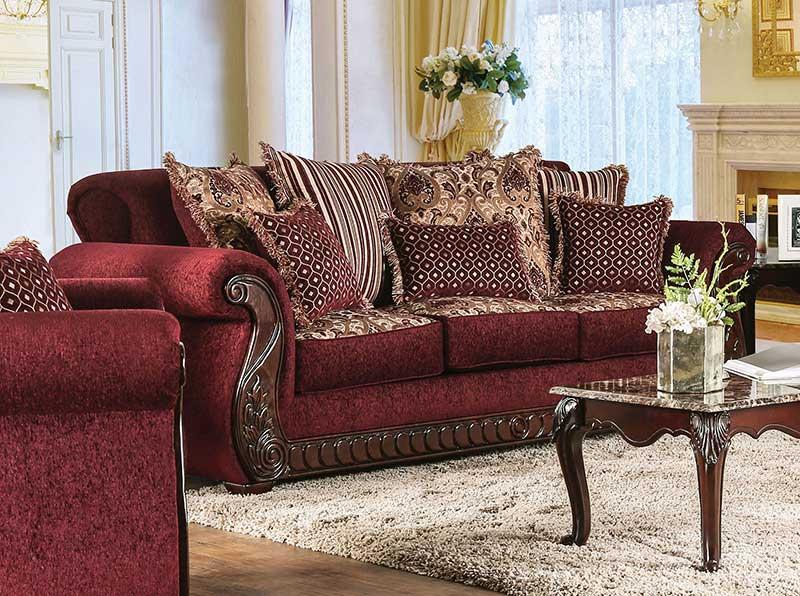 old world living room furniture wood trim  burgundy