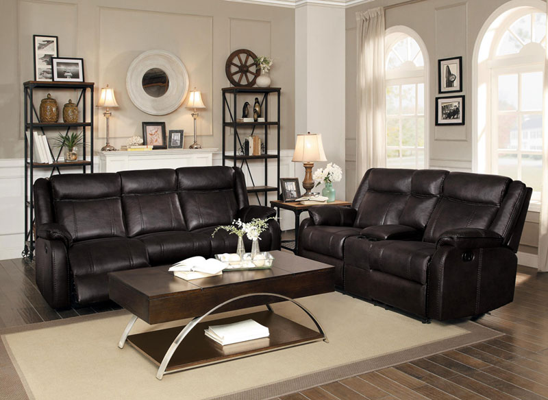 Details About Modern 2 Piece Living Room Brown Faux Leather Reclining Sofa Loveseat Set If53