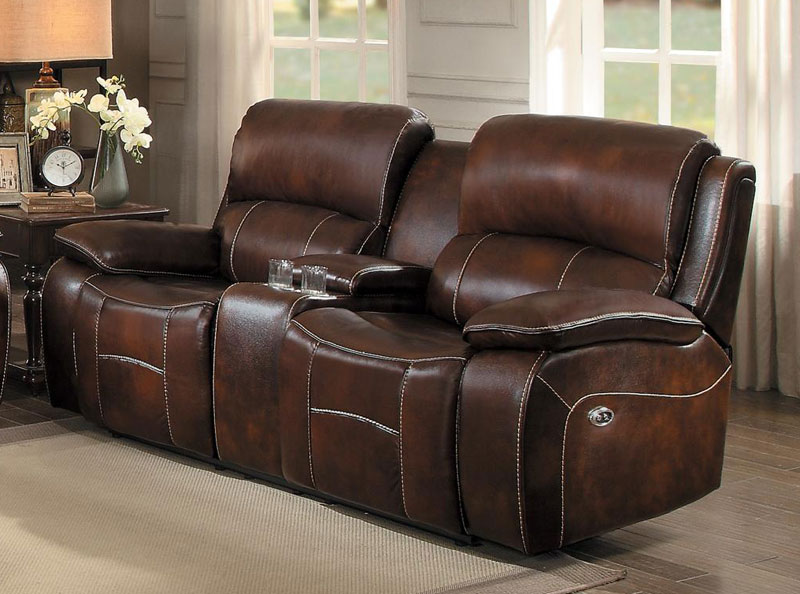 Brown Leather Reclining Sofa Couch