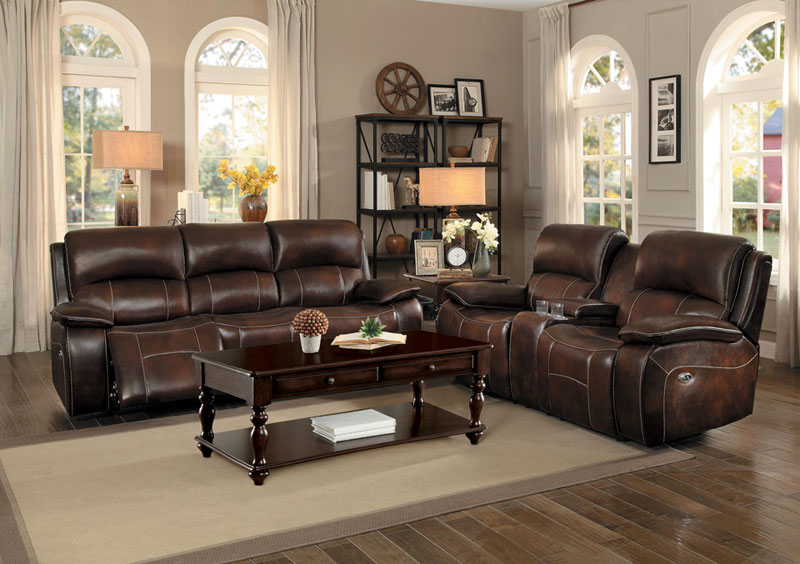 Leather Reclining Sofa Loveseat
