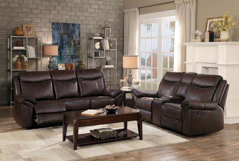 Details About New Modern 2 Piece Living Room Brown Faux Leather Reclining Sofa Couch Set If5s