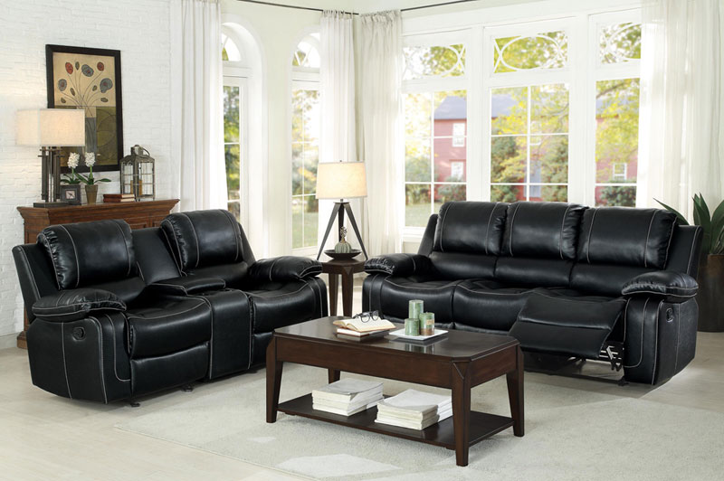 Details About New Modern Living Room Couch Set Black Faux Leather Reclining Sofa Loveseat If6d