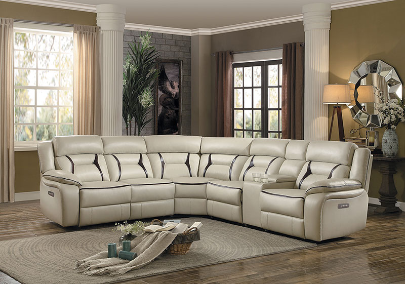 New Modern Sofa Sectional Beige Faux, Faux Leather Living Room Set