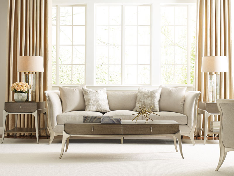 New Modern Living Room Couch Set Furniture Wood Trim Cream Fabric