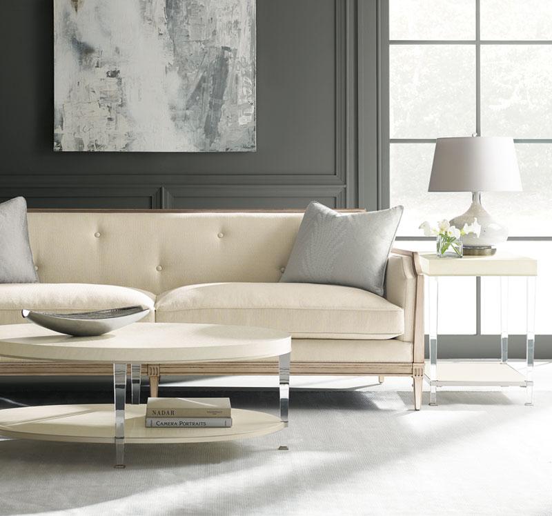 Traditional Living Room Furniture Aris Wood Trim Ivory Fabric Sofa