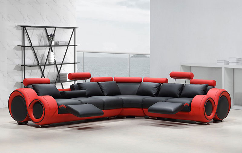 Details about Modern Sectional Living Room Black & Red Bonded Leather  Reclining Sofa Set IFV1