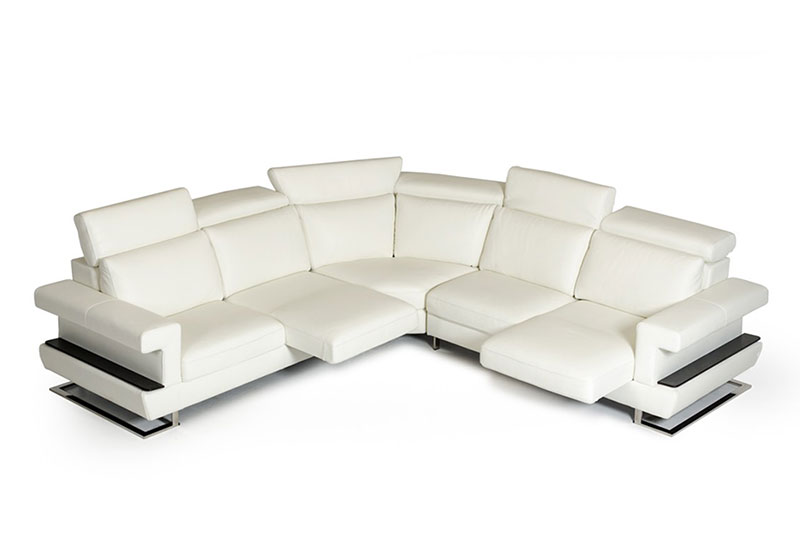 Details about NEW Modern Living Room Furniture - FARO White Italian Leather  Sectional Sofa Set